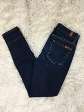 7 For All Mankind 27x29 High Waist Skinny Solid Dark Wash Jeans Stretchy $189
