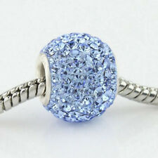 Light Blue Czech Crystal Charm Bead, 925SS, fits European Style Bracelets