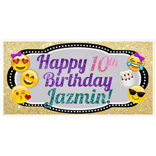 Glitter Emoji Banner Birthday Personalized Party Backdrop