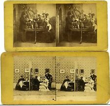 2 Stereoview Photos European UK? France? Genre Play? Soldiers Military Rifle Gun