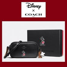 COACH Disney Mickey Mouse Black Crossbody Purse Calf Leather NWT Gift Box