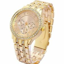 Geneva Golden Chain Studded Analogue Watch For Women,Girls!!