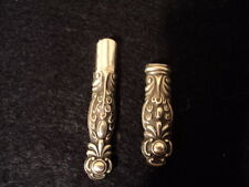 Antique Sterling Silver repousse ORNATE NEEDLE CASE 1880s-1915 -both sides fancy