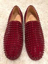 NIB Christian Louboutin Roller Boat Carmin Red Spike Patent Low Sneaker Flats 40