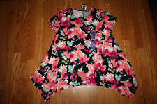 NWT Womens Chelsea & Theodore Floral Short Sleeve Top Stretchy Tunic Shirt L