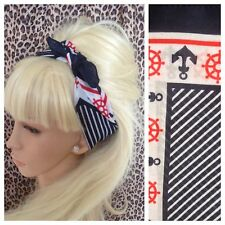 NAVY ANCHOR NAUTICAL SAILOR COTTON BANDANA HEAD HAIR NECK TIE SCARF ROCKABILLY