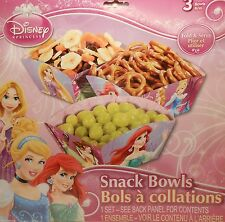Party Snack Bowls DISNEY PRINCESSES Ariel Treats Birthday Supplies 3 pack S1