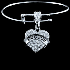 Doctor Bracelet  surgeon  MD  DDS  PHD  Cardiologist  Crystal heart style
