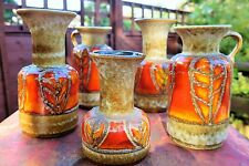 Collection of 4 JASBA FAT LAVA vases in matching glazes, perfect condition