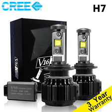 H7 Cree LED Headlight Conversion Kit 60W 6000K 7200LM White Bulbs one Pair