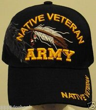 U.S. ARMY AMERICAN INDIAN NATIVE PRIDE BALD EAGLE FEATHER VETERAN VET CAP HAT OS