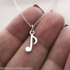 Tiny Music Note Necklace - 925 Sterling Silver - Musician Charm Musical Note NEW