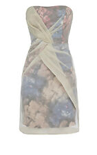 BNWT Authentic Karen Millen Silk Blue Pink Black Strapless layered dress