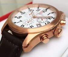 Rotary St.Moritz Swiss Made Watch Mens Rose Gold Plated Sapphire Glass RRP £250