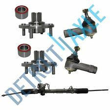 Power Steering Rack and Pinion + 2 Wheel Hub Bearing Assembly + 2 Outer Tie Rod