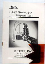 Leitz Leica Lens Telyt 4.5/200mm Sales Brochure and Instructions, 8 pages, 11/50