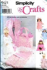 """SIMPLICITY 5421 18"""" DOLL CLOTHES & ACCESSORIES Pattern"""