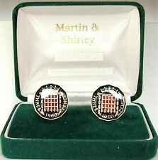 1960 Threepence cufflinks from real coins Black & Gold