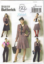 Vintage 40s Retro Blouse Top Jacket Pants Skirt Suit Sewing Pattern 6 8 10 12 14