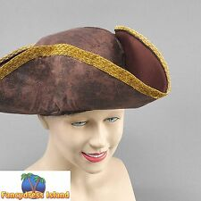 PIRATE BROWN DISTRESSED LOOK TRICORN HAT Mens Fancy Dress Costume Accessory