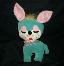 "7"" VINTAGE GREEN & PINK PUPPY DOG STUFFED ANIMAL PLUSH TOY MADE IN JAPAN ANTIQUE"