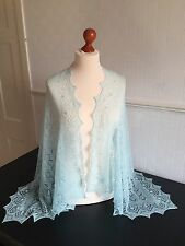 Beautiful lace 100%pure cashmere shawl / scarf col: Hydra ( Light Turquoise )