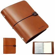 Whole leather vintage Notebook Travel diary journal Instax photo album - Brown