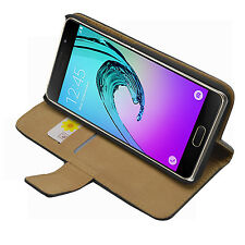Wallet BLACK Leather Case Cover Pouch Saver For Samsung Galaxy A5 2016 SM-A510F