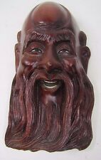 Old Carved Asian Wood Man Exquisite Detailing Eyes Teeth 2A