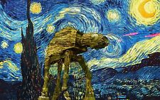 STAR WARS AND VAN GOGH STARRY NIGHT ART IMAGE A4 Poster Gloss Print Laminated