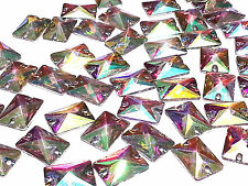 50pcs AB Clear 18*13mm RECTANGLE RESIN Sew On DIAMANTE Rhinestone Crystal Gems