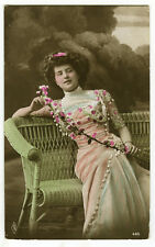 c1910 Lovely Lady on WICKER BENCH Beauty tinted photo postcard
