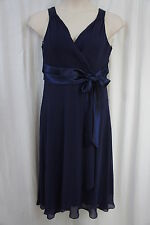 Evan Picone Dress Sz 10 Navy Blue Chiffon Sleeveless Casual Cocktail Party Dres