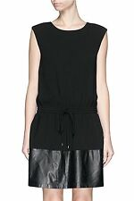NWT $495 VINCE Black Crepe Leather Cap Sleeve Drawstring Dress - XL (12-14-16)