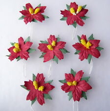 PACK 10 RED POINSETTIAS FLOWERS GREAT FOR  CRAFTS-CAKES-FAVOURS