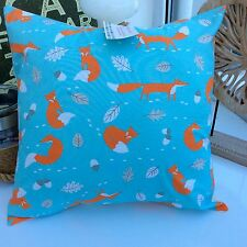 CUSHION COVER DUCK EGG BLUE COTTON FABRIC MR FOX SCANDI ORANGE RETRO WOODLAND 41