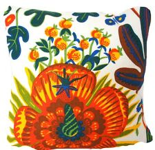 "Josef Frank Linen Fabric Cushion Cover Aralia Floral Printed White Green 16"" New"