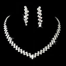 Prom Wedding Bridal Crystal Rhinestone Necklace Earring Jewelry Set Hot