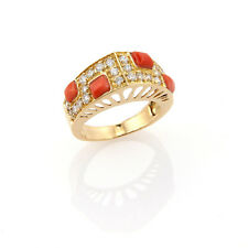 ITALIAN DESIGNER 18K YELLOW GOLD CORAL & WHITE SAPPHIRES RING - SIZE 6