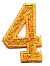 "NUMBERS -Golden Yellow  Number ""4"" (1 7/8"") - Iron On Embroidered Applique"