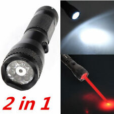 2 in 1 Portable 7 LED White Light + Red Laser Pointer Flashlight Torch Alloy New