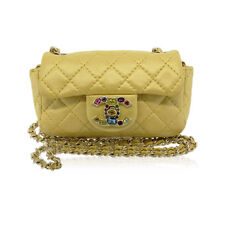 Chanel Limited Edition Gold Metallic Yellow Mini Jeweled Flap Closure No. 14