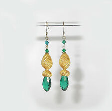 "~STUNNING VTG 50's ""SCHEHERAZADE"" HOLLYWOOD REGENCY HAREM EMERALD EARRINGS!~~"