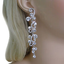 Nickel Free Wedding Flower Pierced Dangle Earrings Clear Austrian Crystal E802