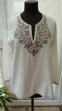 NWOT Gorgeous Cream Kaftan Tunic Style Embroidered Blouse Top Size M.