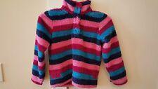 LITTLE JOULES multi pink stripe button pullover WOOZLE soft fleece top SIZE 7