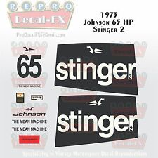 1973 Johnson 65HP Stinger 2 Mean Machine Outboard Repro 12Pc Vinyl Decals Two