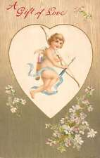 Valentines Day Angel Cupid Bow And Arrow Flowers Antique Postcard K21840