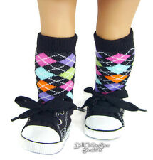 "Black Canvas Sneakers & Knee High Socks for 18"" American Girl Doll Clothes"