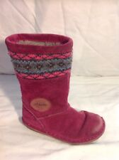 Girls Clarks Pink Suede Boots Size 7.5F